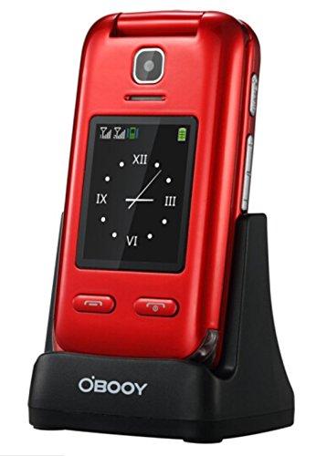 Eg520Senior débloqué GSM téléphone Portable, Bouton SOS, Compatible avec Une Aide auditive Rouge 25
