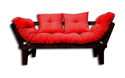 Divano-letto Sésamo, Wengè, Rosso Futon, 200x82x32 cm.