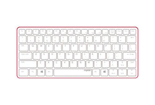Rapoo E6350 ultraschlanke kabellose Bluetooth 3.0 Tastatur aus Aluminium (nur 4,9mm dünn, Multimedia, 2 Monate Akkulaufzeit, QWERTZ deutsches Layout) weiß-rot