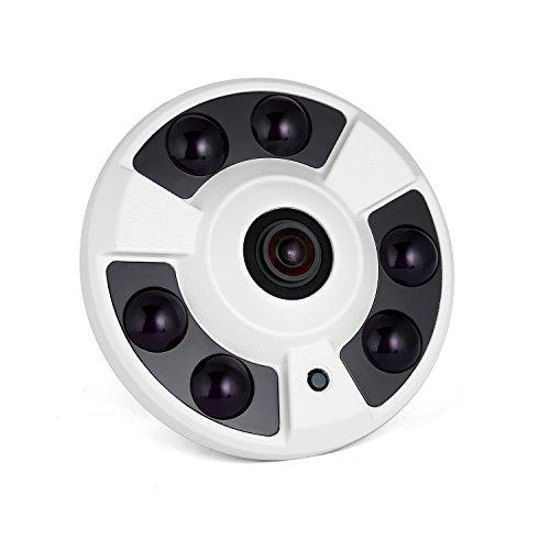 Revotech - POE HD 1920 x 1080P 2.0MP Panoramica Fisheye IP Telecamera 6 LED Telecamera di Videosorveglianza con Visione Notturna ONVIF P2P CCTV Cam con IR-Cut (IF02-P bianco)