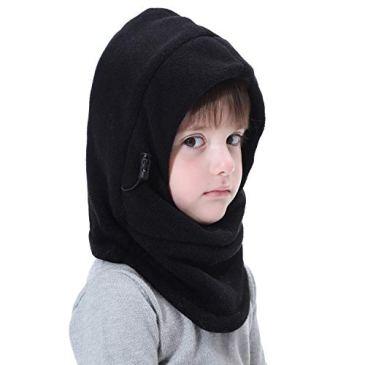 VSREI Bonnet Enfant Chapeau Ski Écharpe d'hiver Doublure Cotton Doux, 5 en 1 Ajustable Bavoir Epais Elastique Cache Oreilles pour Garçon Fille en Plein Air Quotidien (3-14ans)