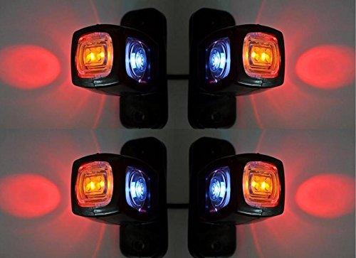 4 luci di ingombro laterali e posteriori per rimorchio, camper, furgone, 12 V, 24 V, colori: arancione, bianco e rosso