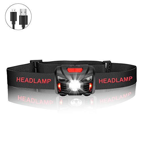 Lampade da Testa, USB Ricaricabile LED Lampada Frontale con interruttore del sensore, 5 Modalità di Illuminazione Luce da Testa Per Correre, Leggere, Campeggio,Arrampicata, Bambini, Bicicletta