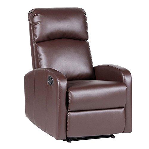 SVITA Relaxsessel Fernsehsessel Ruhesessel mit Verstellbarer Beinablage und Liege-Funktion - Kunstleder Farbwahl (Braun)