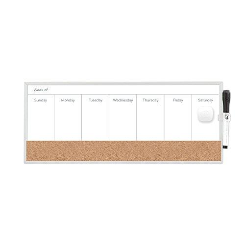 U Brands lavagna magnetica cancellabile a secco/sughero calendario settimanale, 45,7x 19,1cm,...