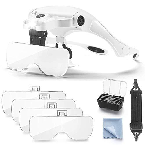 Lupen Lupenbrille mit Licht Hände Frei Kopfband Lupen Vergrößerungswerkzeuge Verstellbare für Hobby,Elektriker,Juweliere,Brillenträger, Lesen, Handwerk, Nähen, Reparatur 1.0X, 1.5X, 2.0X, 2.5X, 3.5X