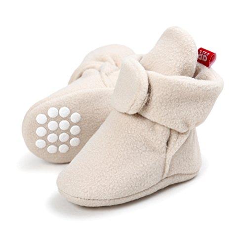 Stivali Invernali per Neonato Unisex Fondo Morbido Antiscivolo Stivali da Neve Bambino Cotone Piatto Pelliccia Calzino Bootie Regolabile (6-12 Mesi, Cachi)