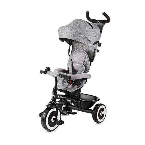 Kinderkraft Drairad für Kinder Baby ASTON Kinderdreirad Jogger mit Zubehör Dachfenster Sicherheitsgurte lenkbarer Schubstange ab 9 Monate bis 5 Jahre Grau