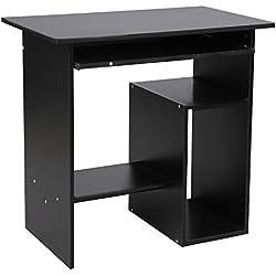 VASAGLE Mesa de Ordenador, Escritorio de Oficina, Mesa de Estudio con Portateclado y Estantes de Almacenaje, Montaje Sencillo, 80 x 48x 76 cm, Negro LCD852B