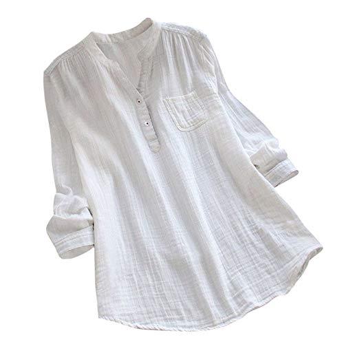 OverDose mujer Con Cuello En Cuello De Manga Larga De AlgodóN Casual SóLido TúNica Suelta Tops Camiseta Mujer Talla Grande (XXL, R-Blanco)