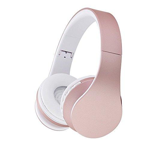 Bluetooth drahtlose Kopfhörer, EONSMN 4 in 1 Stereo Bluetooth faltbare Headsets mit Micro Support SD / TF Karte für Smart Phones Tablet PC Notebook (Rose Gold)