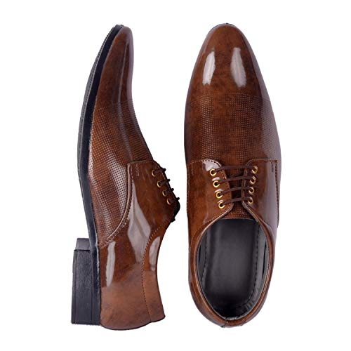 Port Men's Synthetic Leather Brown Lace Up Formal Shoes (10)