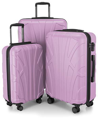 SUITLINE Suitline - Set di 3 valigie rigide da viaggio, con ruote, Tsa (S, M & L), 76 cm, Flieder...