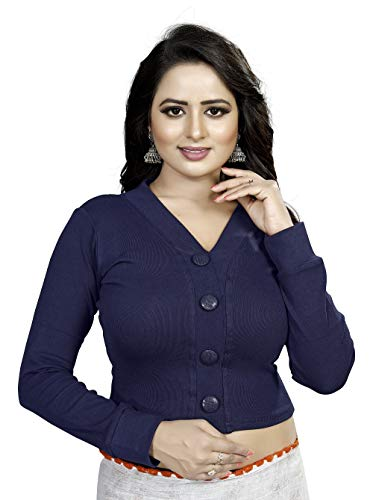GOGURLReadymade Designer Blouse For Women Ladies Fancy Traditional Sarees Stitched Ethnic Wear Saari Royal Collection Womens Cotton Wollen Strechable Readymade Winter Saree Blouses (NavyBlue_XL)