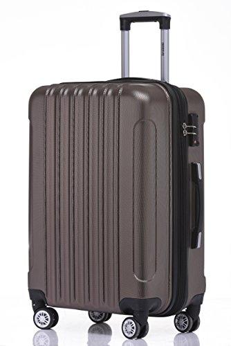 BEIBYE TSA Schloß, Zwillingsrollen, Dehnungsfuge, Hartschale Trolley Koffer Kofferset Reisekoffer Gepäckset (Coffee) - 2