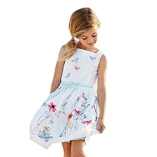 FAMILIZO Niñas Vestidos, Niñas Correa Floral Imprimir Princesa Mariposa Vestidos (110)