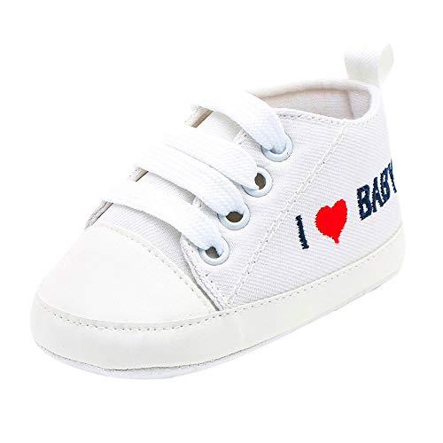 Scarpe Neonato Unisex in Pelle Morbida Ricamo a Forma di Cuore Sneaker Antiscivolo Carina Bambino Scarpe Tela Scarpine Prima Infanzia Scarpe Casual Morbide Suola 0-18 Mesi