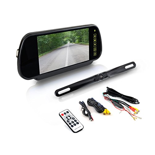 "Pyle Backup Car Camera - Rear View Mirror Monitor System w/Safety Parking Assist Distance Scale Lines - Features Bluetooth, Waterproof Protection, Night Vision, 7"" LCD Screen Display - PLCM7400BT"