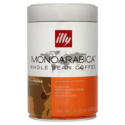 Illy Monoarabica coffee beans (a citrus fruit, delicate, floral notes, jasmine, medium-bodied flavour coffee with aromas of dried fruit and citrus fruit, fresh fruit and petals)