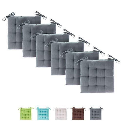 etérea Basic Sitzkissen für Innen- und Außenbereich 40x40 cm Grau 6er Set