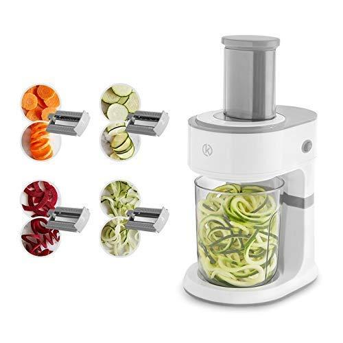 Elektrischer Spiralschneider und Scheibenschneider, 4 Edelstahl-Schneideinsätzen, Multischneider mit 8 Funktionen für Obst- und Gemüsespaghetti inkl. praktischem Auffangbehälter