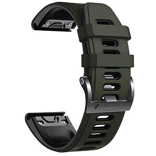NotoCity Cinturino per Garmin Fenix 6X/Fenix 6X PRO/Fenix 3/Fenix 3 HR/5X/Fenix 5X Plus/, 26mm Cinturino di Ricambio in Silicone, Braccialetto Quick-Fit, Colori Multipli. (Nero+Esercito Verde)