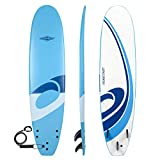 Osprey Foam Surfboard Soft Foamie Complete with Leash and Fins, Logo-Blue, 8 ft