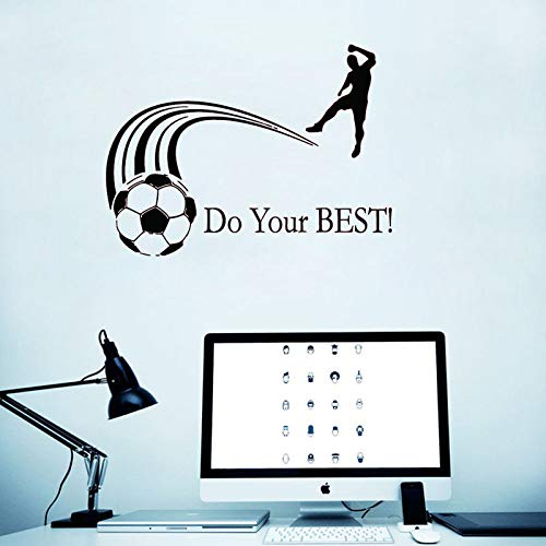 Removable Sport Wall Sticker Soccer Player Vinyl Art Wall Sticker with Do Your Best Quote Wall Mural...