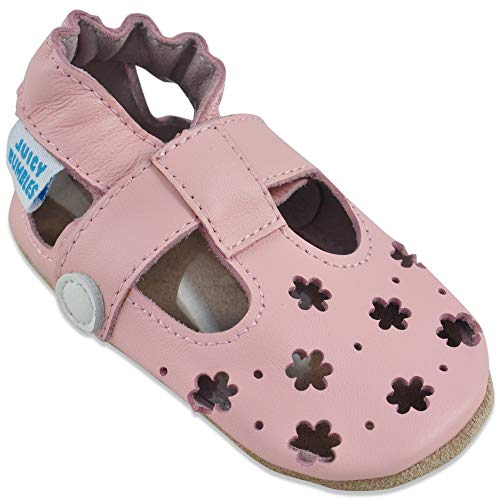 Sandali Bambina Primi Passi - Scarpe Neonata Estive - Scarpe Bambina in Morbida Pelle - Scarpine Neonato - Fiori Rosa - 6-12 Mesi
