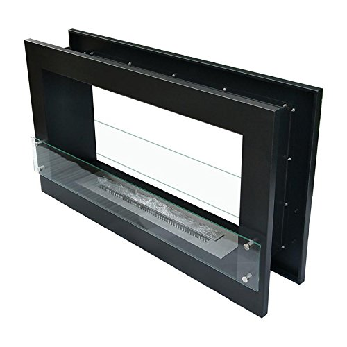Slim Black Built-In Bioethanol Fire With Glass Mounted on Each Side| 120 cm Steel Bioethanol Fire Box with Glass Panel