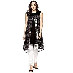 La-Firangi Women's Straight Kurta (STYLE606_black_Multicoloured_small)