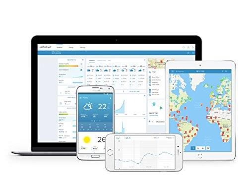 415C1S1rFEL [Bon Plan Netatmo] Netatmo Station Météo Intérieur Extérieur Connectée Wifi pour Smartphone, Capteur Sans fil, Thermomètre, Hygromètre, Baromètre, Sonomètre, Qualité de l'air - Compatible avec Amazon Alexa, NWS01-EC