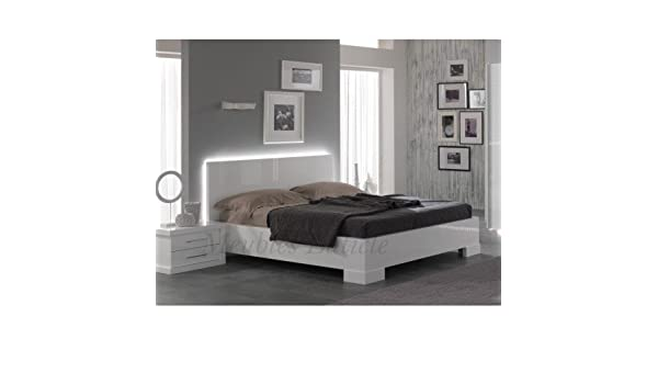 Ancona Bed 160 Cm High Gloss White Amazoncouk Kitchen Home
