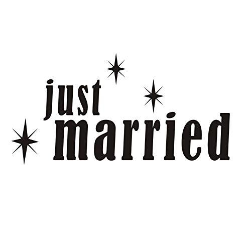 Citazione fai-da-te Just Married Lettering Wall Sticker Vinile Celebration Lover Camera da letto...