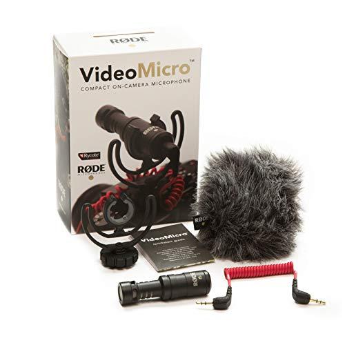 Rode VideoMicro Microfono Direzionale Compatto per fotocamere DSLR, Videocamere e registratori audio portatili,  Jack 3,5 mm, Colori assortiti, 1 pezzo