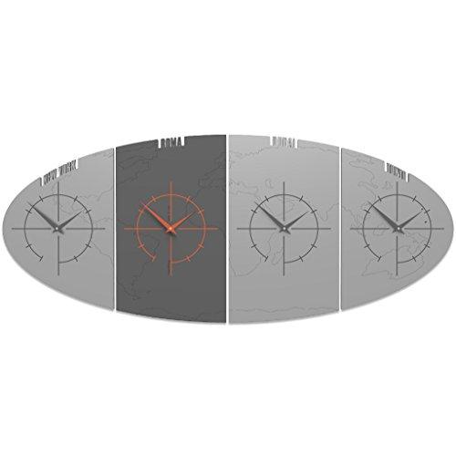 CalleaDesign - Orologio da parete Sydney con fusi orari, Colore: Alluminio