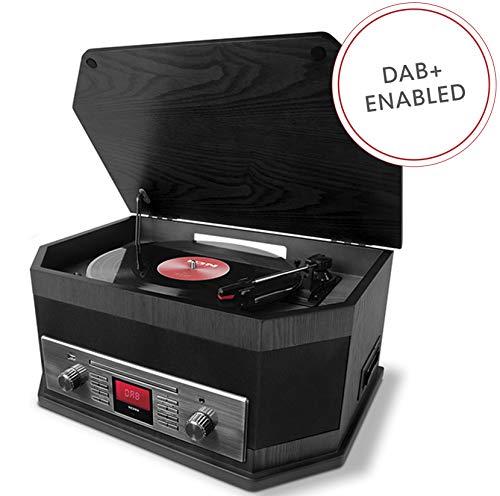 ION Audio Octave LP Ash Black Impianto Stereo 8 in 1 con Bluetooth, Registratore, CD, Cassette, Riproduzione e Registrazione da USB, Ingresso Ausiliario, Radio DAB+/FM e Altoparlanti Integrati