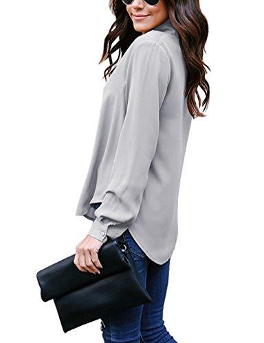 eeeff898fadca1 Yidarton Women V Neck Chiffon Long Sleeve Solid Color Casual Tops ...