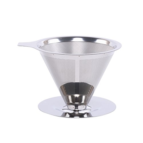 BESTONZON Stainless Steel Pour Over Coffee Dripper Reusable Coffee Filter Cone Shape Dual Layer Coffee Filter Mesh Basket with Base 125mm