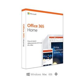 Microsoft Office 365 Home   fino a 6 persone   1 abbonamento annuale   si installa PC/Mac su un numero illimitato di dispositivi   scatola