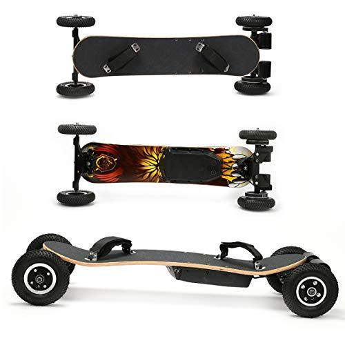 Skateboard Elettrico, Fuoristrada Longboard Elettrico con Telecomando Senza Fili 2x1650W Skateboard...