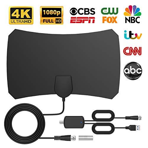Bqeel TV Antenne HDTV-Verstärker Digitale HDTV-Antenne, Superflache TV Antenne für DVB-T/DVB-T2/DTMB /ATSC/ DMB-T/ ISDB-T/ unterstützt 4K/ HD /1080P/ freie Kanäle usw.