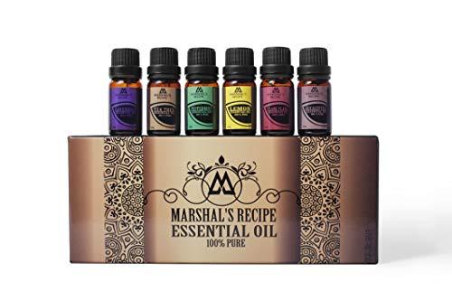 Juego de aceite esencial orgánico de receta de Marshal, para difusores de aromaterapia (6 x 10 ml) – Top 6 Pure de la más alta calidad árbol de té, eucalipto, lavanda, yang ylang, limón y menta