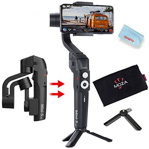 MOZA Mini-S Gimbal Foldable Extendable 3 Axis Smartphone Gimbal with Quick Platback,One-Button Zoon,Timelapse,Objecti Tracking,Inception Mode Fucntion for Smartphone Gopro (MOZA Mini-S)