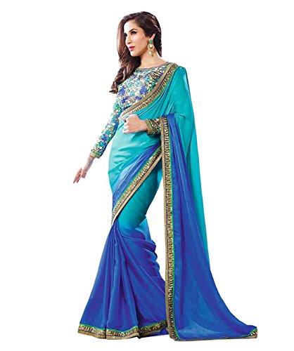 Sarees (Trendz Latest Georgette Saree with Lace Border)