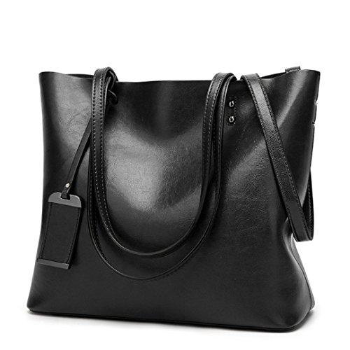 Bolso De cuero Bolsos de mujer de gran capacidad Diseñador de Bolsos con bandoleras monederos dama bolsa Crossbody negra Bolsas