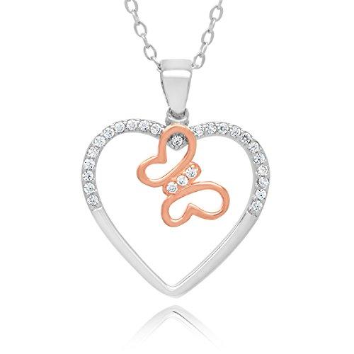 Plata de Ley Chapado en oro rosa tono cubic zirconia corazón Mariposa Colgante Collar