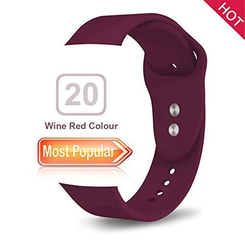 Cinturino XPC Cinturino sportivo di ricambio in silicone morbido per serie di orologi 38mm 1 2 3 4 5 42mm Iwatch Sports Edition Braccialetto da polso 38MM o 40MM ML Colore rosso vino