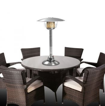 The Firefly 4KW Gas Table Top Patio Heater stands at a height of 88cm and is large enough to heat up large areas. The silver coloured unit is made from premium stainless steel allowing it to be outdoors and not succumb to rust. The weighted base acts as a support feature to allow the unit to be stable even when accidentally nudged. Those who live in windy areas will find this feature useful.