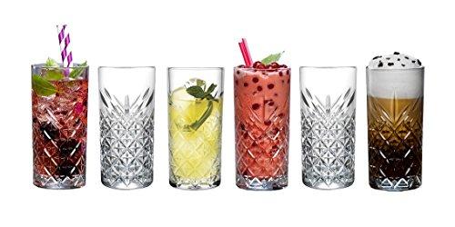 Pasabahce, bicchiere da long drink, 52820 'Timeless' nel design di cristallo, altezza di circa 14,3cm, set da 6